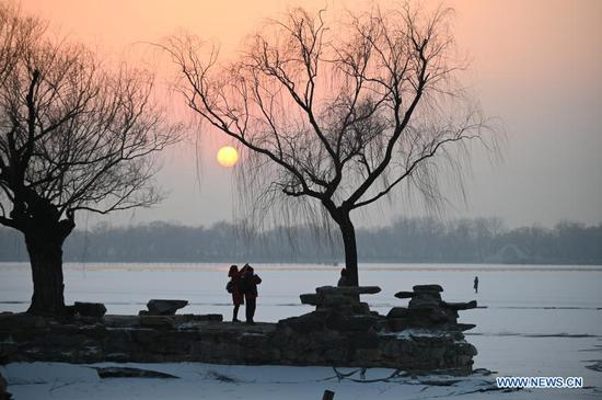 View of sunset at Summer Palace in Beijing